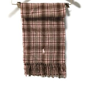 RALPH LAUREN brown and pink plaid 100% wool scarf